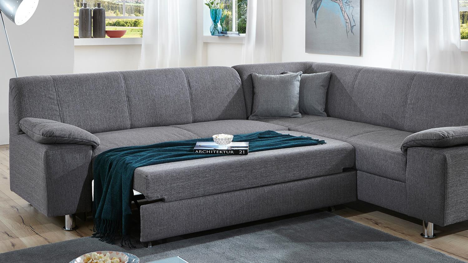 ecksofa alamo wohnlandschaft sofa in grau mit bettfunktion. Black Bedroom Furniture Sets. Home Design Ideas
