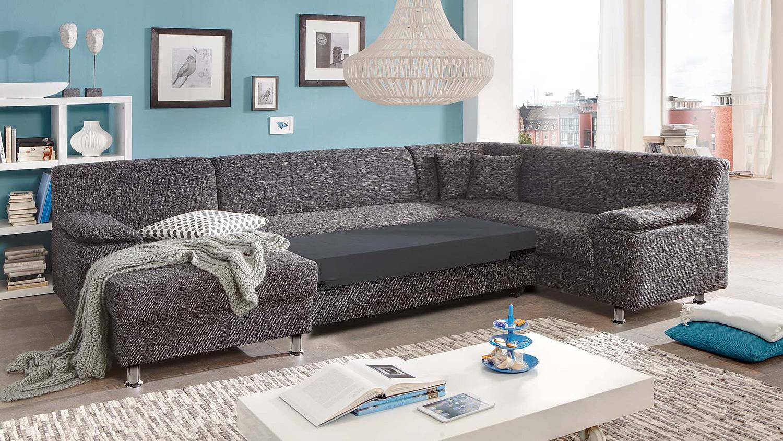 Wohnlandschaft alamo ecksofa sofa in grau mit bettfunktion for Ecksofa in grau