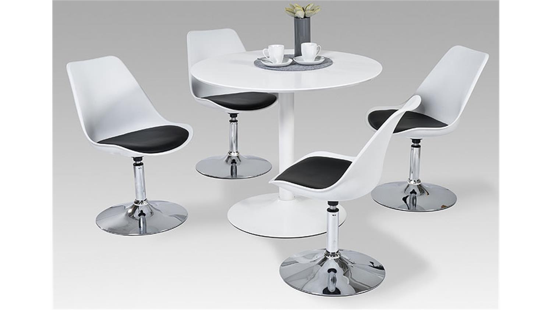 esstisch semi runder tisch in wei hochglanz lackiert 90 cm. Black Bedroom Furniture Sets. Home Design Ideas