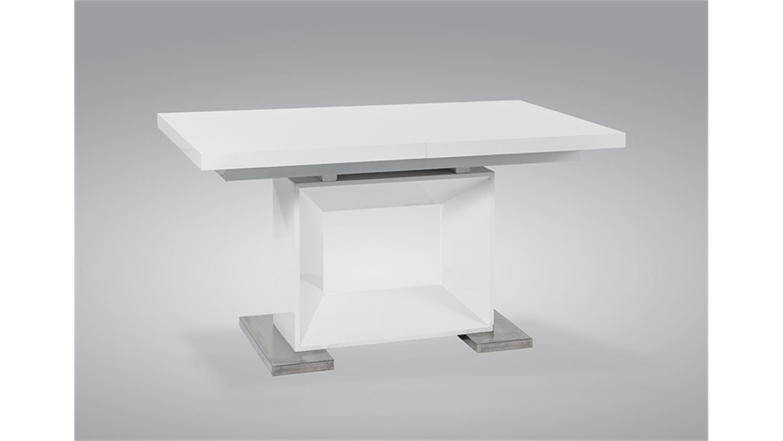 esstisch bibi wei hochglanz edelstahl ausziehbar 140 180. Black Bedroom Furniture Sets. Home Design Ideas