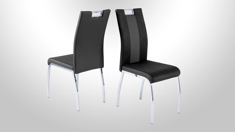 stuhl bari 2 im 4er set lederlook und softtex schwarz grau. Black Bedroom Furniture Sets. Home Design Ideas
