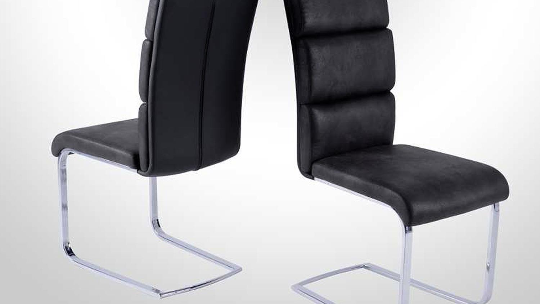 schwingstuhl 4er set new york stuhl schwarz grau chrom. Black Bedroom Furniture Sets. Home Design Ideas