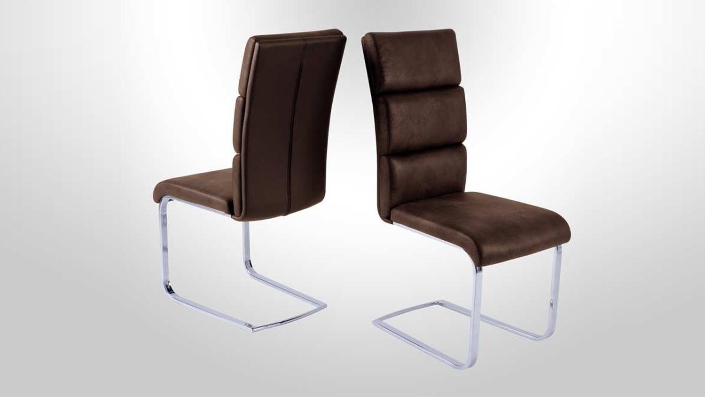 schwingstuhl 4er set new york stuhl dunkel braun chrom. Black Bedroom Furniture Sets. Home Design Ideas