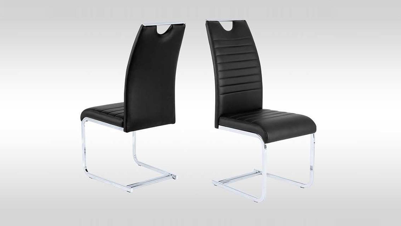 schwingstuhl 4er set gina stuhl in schwarz und chrom. Black Bedroom Furniture Sets. Home Design Ideas