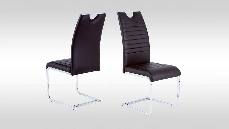 schwingstuhl 4er set gina stuhl in dunkelbraun und chrom. Black Bedroom Furniture Sets. Home Design Ideas