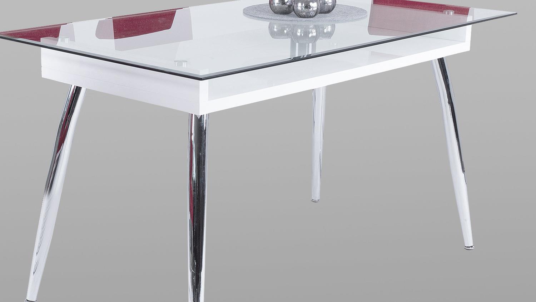 Esstisch Weiß Hochglanz Glas ~ Esstisch RICKY in weiß Hochglanz mit Glasplatte 140×80 cm