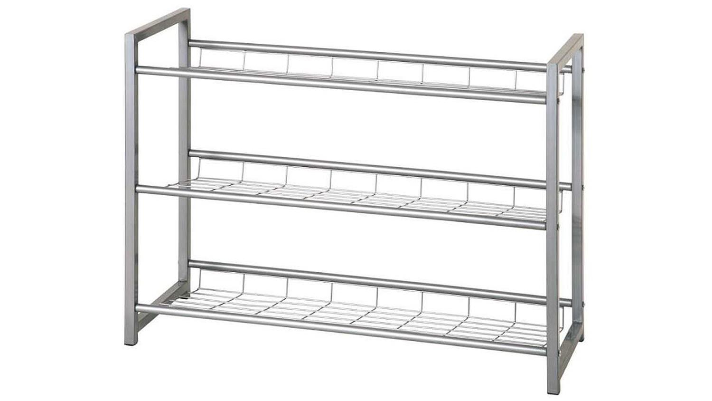 schuhregal evan 2 metall silber schuhablage 3 stufig. Black Bedroom Furniture Sets. Home Design Ideas