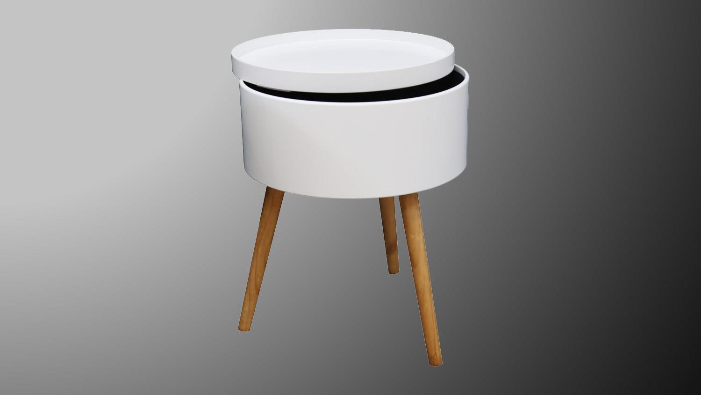 beistelltisch jeff nachttisch in wei und massivholz mit tablett. Black Bedroom Furniture Sets. Home Design Ideas
