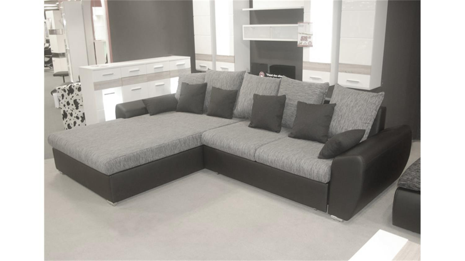 ecksofa ricardo schwarz grau mit schlaffunktion. Black Bedroom Furniture Sets. Home Design Ideas