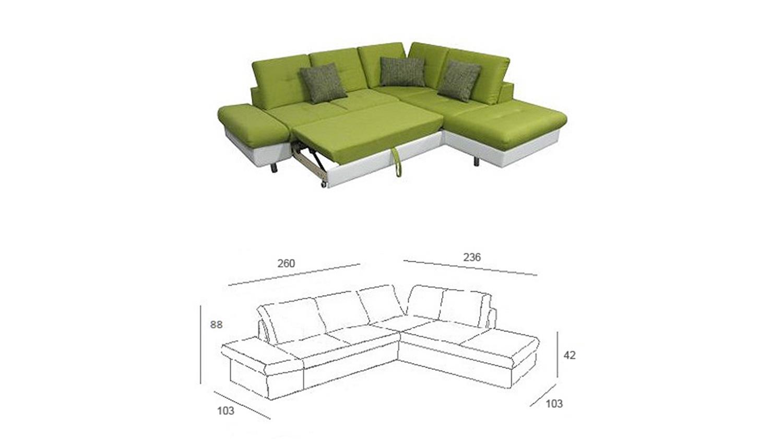ecksofa solaire wei und gr n inkl funktionen ot r 260x236. Black Bedroom Furniture Sets. Home Design Ideas