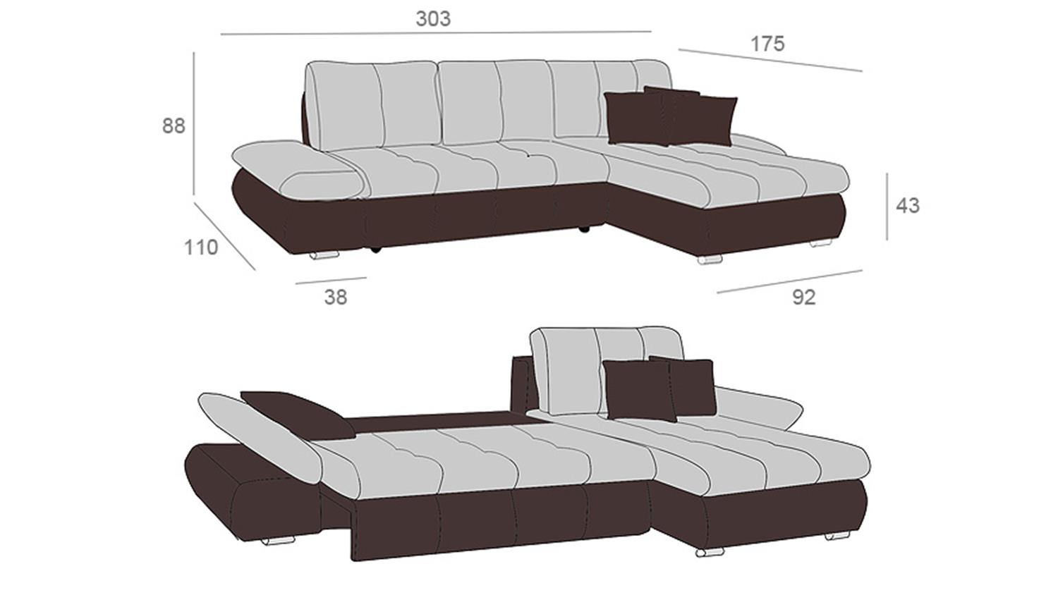 ecksofa zenzo braun und grau inkl kissen rec rechts 303x175. Black Bedroom Furniture Sets. Home Design Ideas
