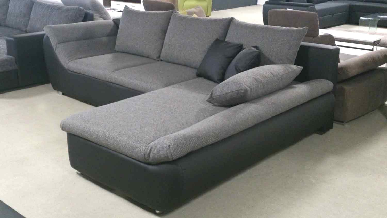 ecksofa solo 300x205 in grau schwarz mit schlaffunktion. Black Bedroom Furniture Sets. Home Design Ideas