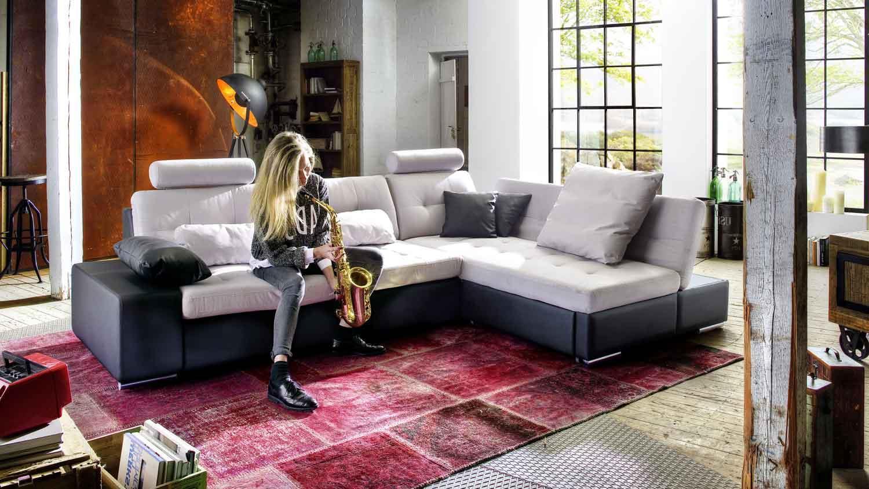 ecksofa change 310x200 hellbeige schwarz recamiere rechts. Black Bedroom Furniture Sets. Home Design Ideas