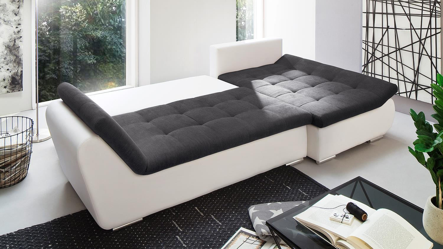 ecksofa pisa wei anthrazit mit bettfunktion und. Black Bedroom Furniture Sets. Home Design Ideas