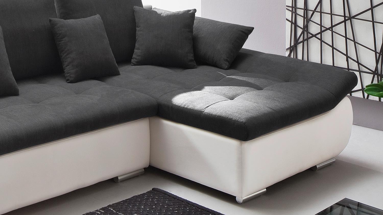 Ecksofa PISA weiß anthrazit mit Bettfunktion und Bettkasten 300x165 cm
