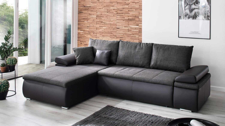 Schlaffunktion Sofa Recamiere Links Grau Celina Schwarz dCBeEQorxW