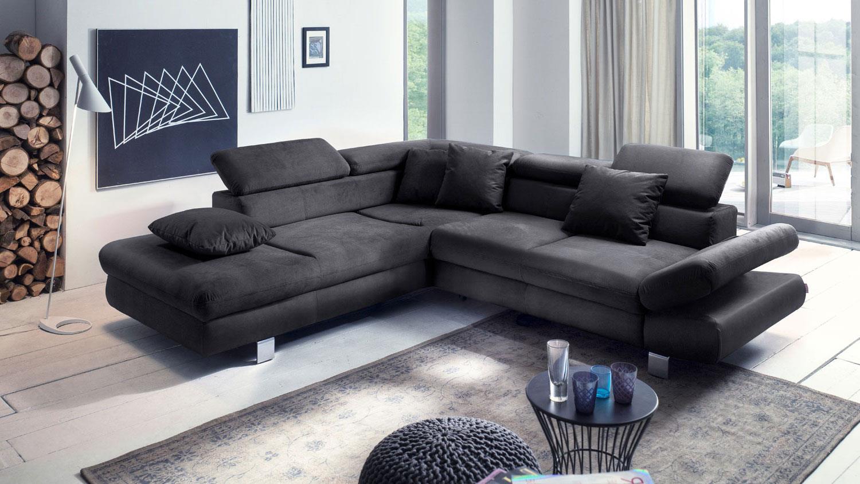 Ecksofa SUN Sofa schwarz mit Funktion und Kissen 236x260