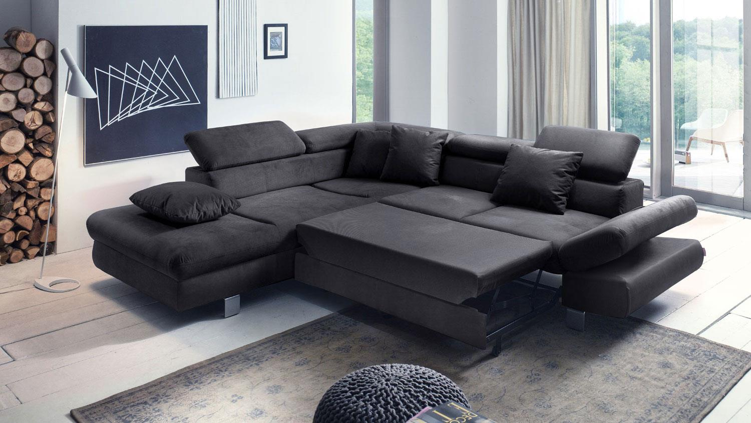 ecksofa sun sofa schwarz mit funktion und kissen 236x260. Black Bedroom Furniture Sets. Home Design Ideas