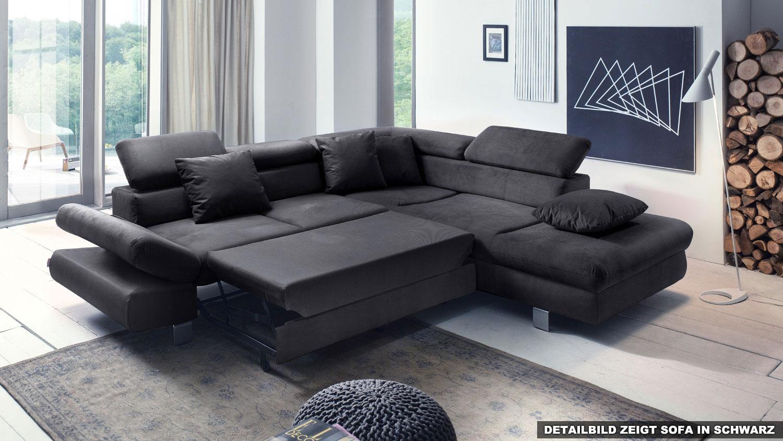 ecksofa sun sofa grau schwarz mit funktion 260x236 cm. Black Bedroom Furniture Sets. Home Design Ideas