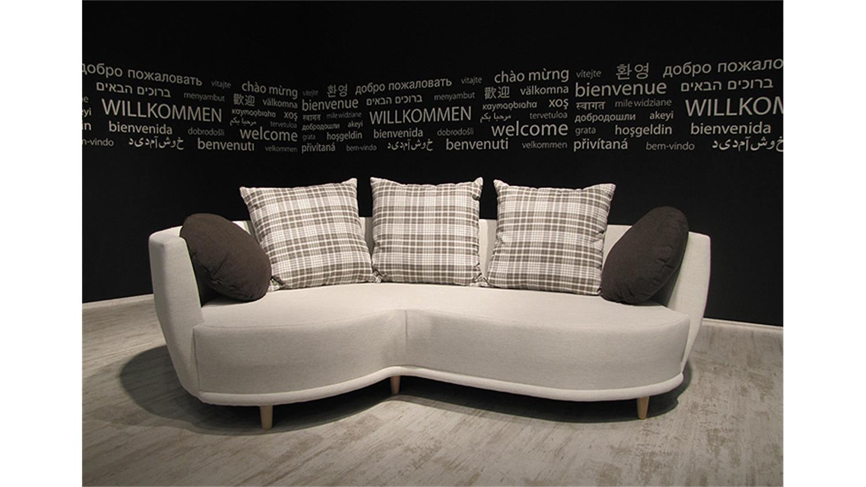Sofa sonia beige mit hocker und kissen braun 220cm breit for Sofa 220 breit