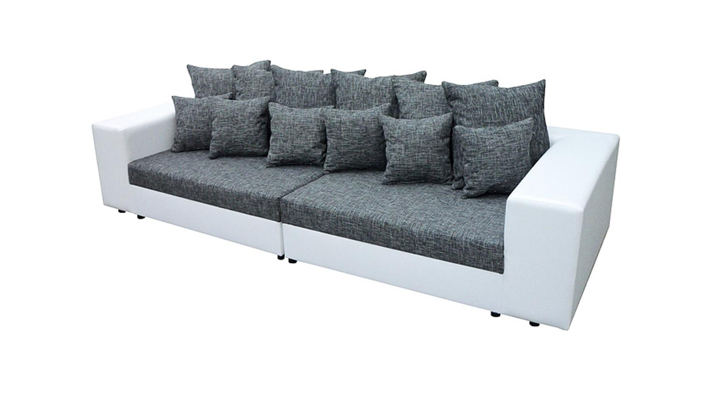 bigsofa giga wei grau inkl kissen 305 cm. Black Bedroom Furniture Sets. Home Design Ideas