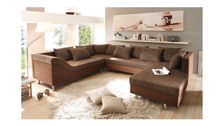 wohnlandschaft phil sofa ecksofa in braun inkl 10 kissen. Black Bedroom Furniture Sets. Home Design Ideas