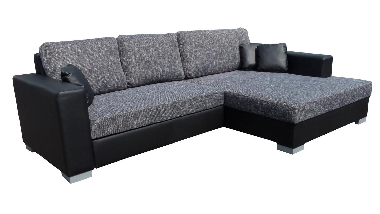 ecksofa flamenco schlaffunktion schwarz grau ottomane rechts. Black Bedroom Furniture Sets. Home Design Ideas