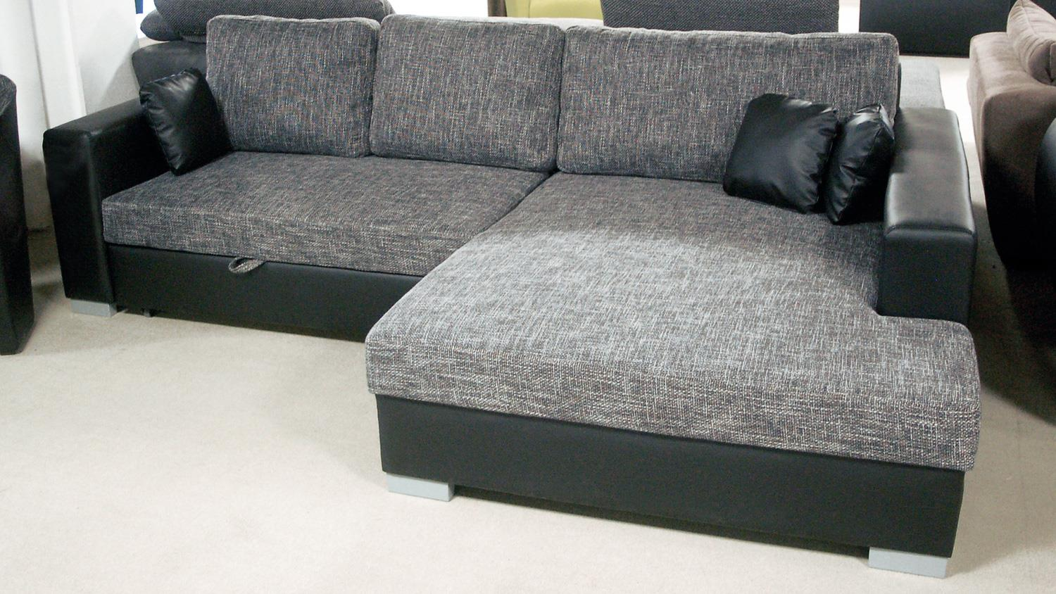 ecksofa flamenco schlaffunktion schwarz grau ottomane rechts. Black Bedroom Furniture Sets. Home Design Ideas