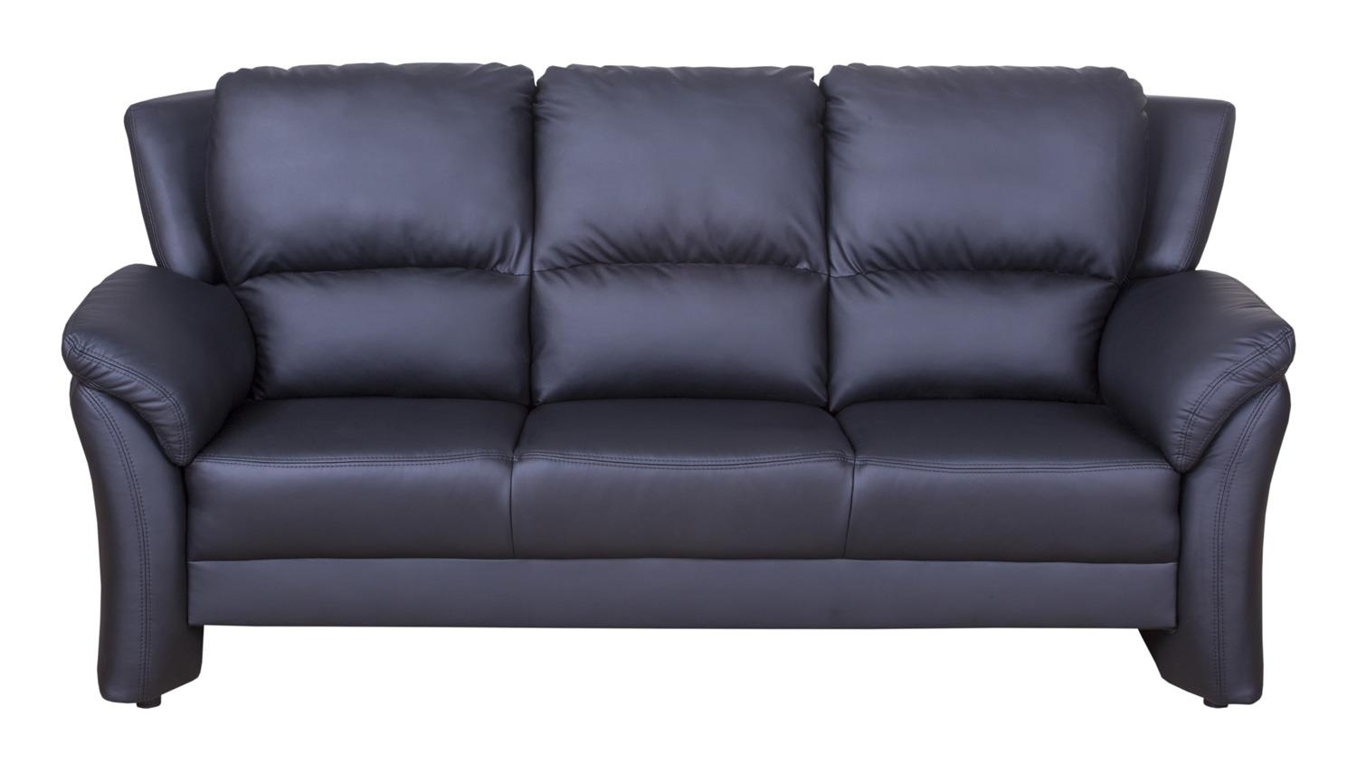 Sofa 3 sitzer pisa couch polsterm bel in schwarz lederlook for 3 on a couch