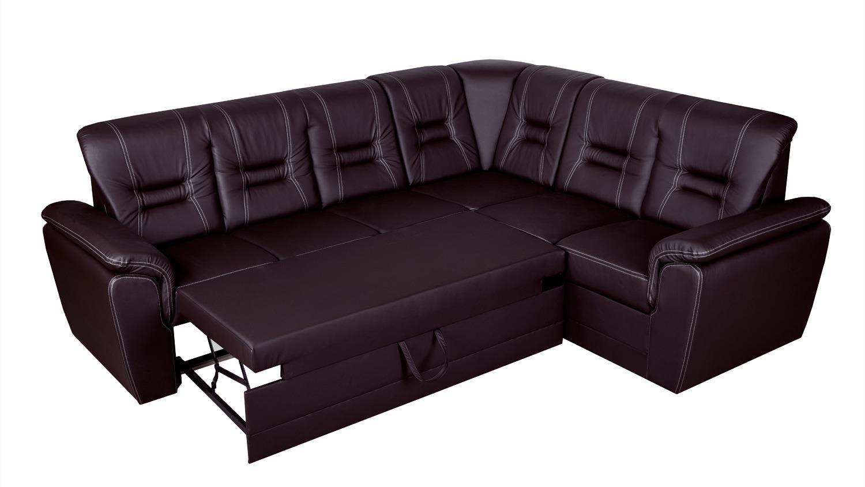 Ecksofa tabitha couch mit schlaffunktion links dunkelbraun for Ecksofa dunkelbraun