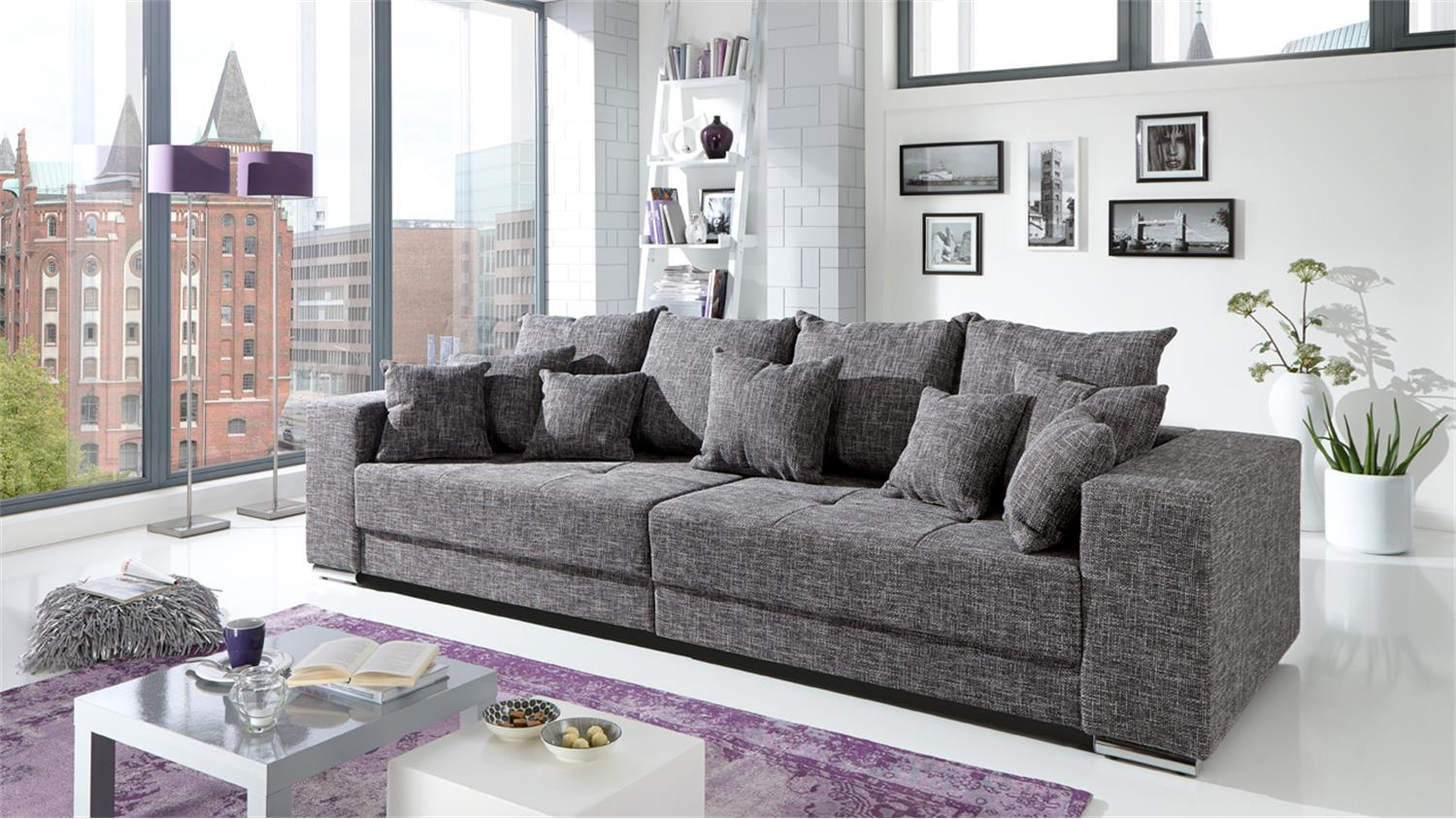 bigsofa adria sofa in webstoff graubraun mit vielen kissen. Black Bedroom Furniture Sets. Home Design Ideas
