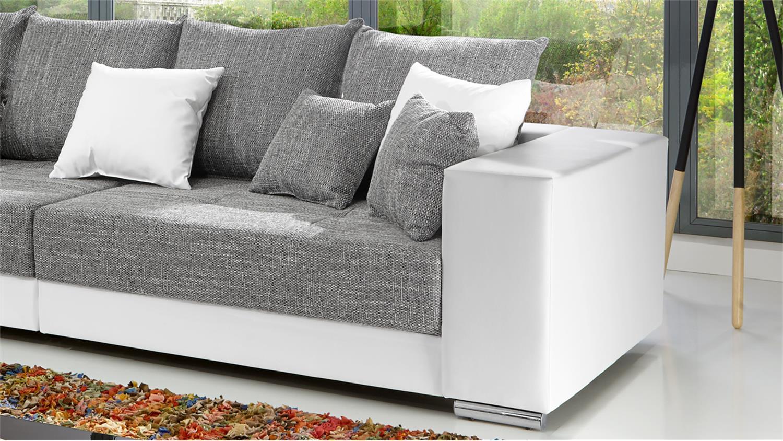 Bigsofa Adria Sofa In Lederlook Weiss Und Bezug Webstoff Hellgrau