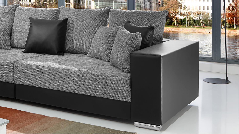 bigsofa adria sofa in lederlook schwarz und bezug webstoff hellgrau. Black Bedroom Furniture Sets. Home Design Ideas