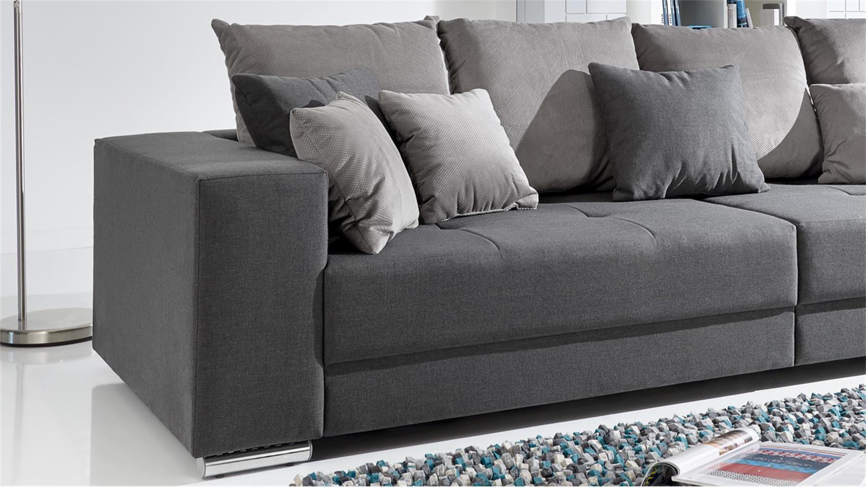bigsofa adria sofa in stoff grau couch mit vielen kissen - Couch Grau Stoff