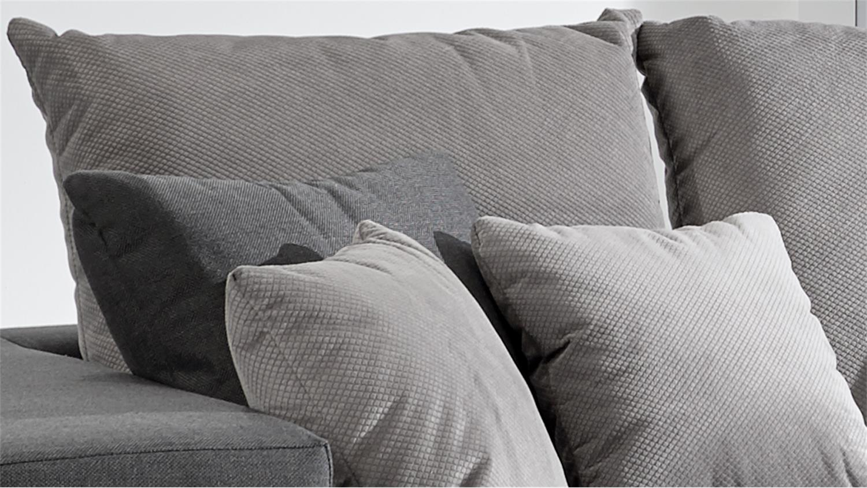 bigsofa adria sofa in stoff grau couch mit vielen kissen. Black Bedroom Furniture Sets. Home Design Ideas