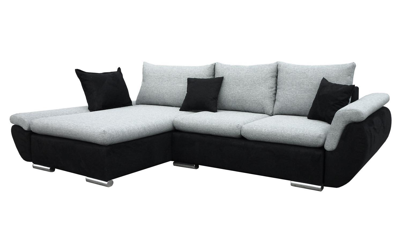 ecksofa meteor schwarz grau inkl kissen und nosagfederung. Black Bedroom Furniture Sets. Home Design Ideas