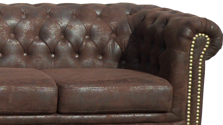 Garnitur 3 2 1 Sheffield Sessel 2 3 Sitzer Sofa Microfaser In Braun