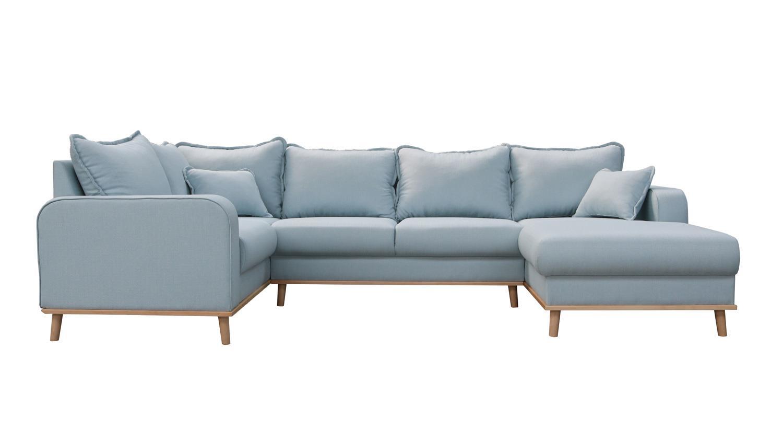 Wohnlandschaft BEATA Ecksofa Sofa Polstermöbel in Pastell blau 296 cm