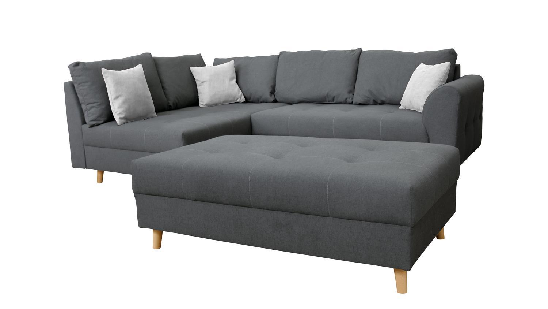 ecksofa ariella l sofa stoff dunkelgrau grau mit kissen. Black Bedroom Furniture Sets. Home Design Ideas