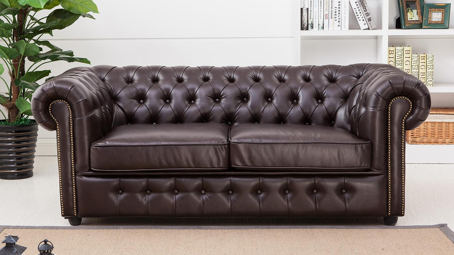 sofa chesterfield 3 sitzer antik dunkelbraun gl nzend mit steppung. Black Bedroom Furniture Sets. Home Design Ideas