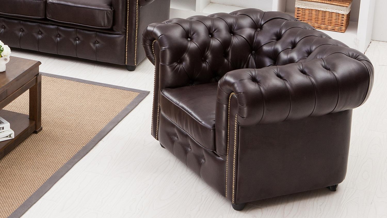 sessel chesterfield in antik dunkelbraun gl nzend mit steppung. Black Bedroom Furniture Sets. Home Design Ideas