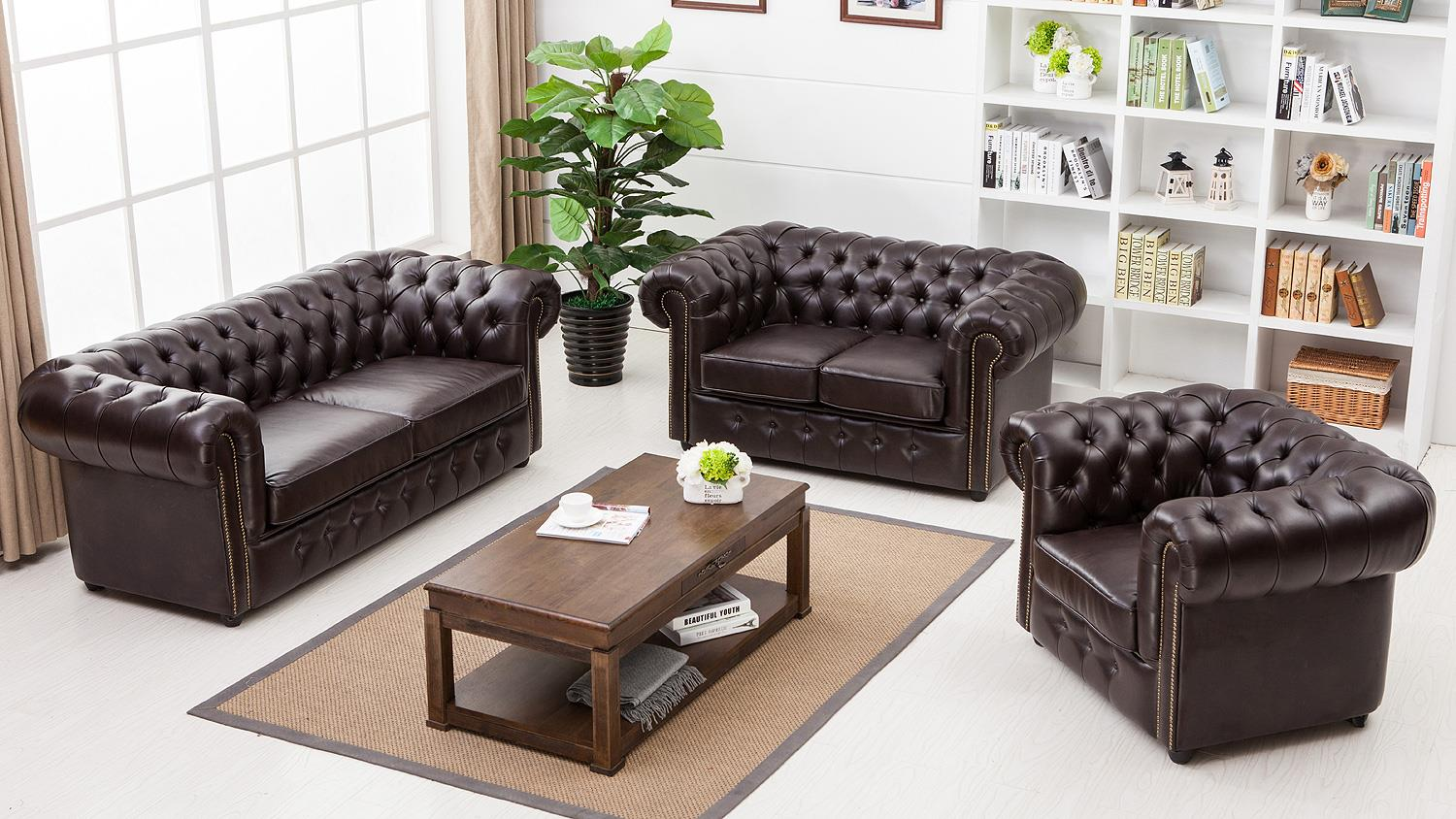 garnitur 3 2 1 chesterfield dunkelbraun gl nzend. Black Bedroom Furniture Sets. Home Design Ideas