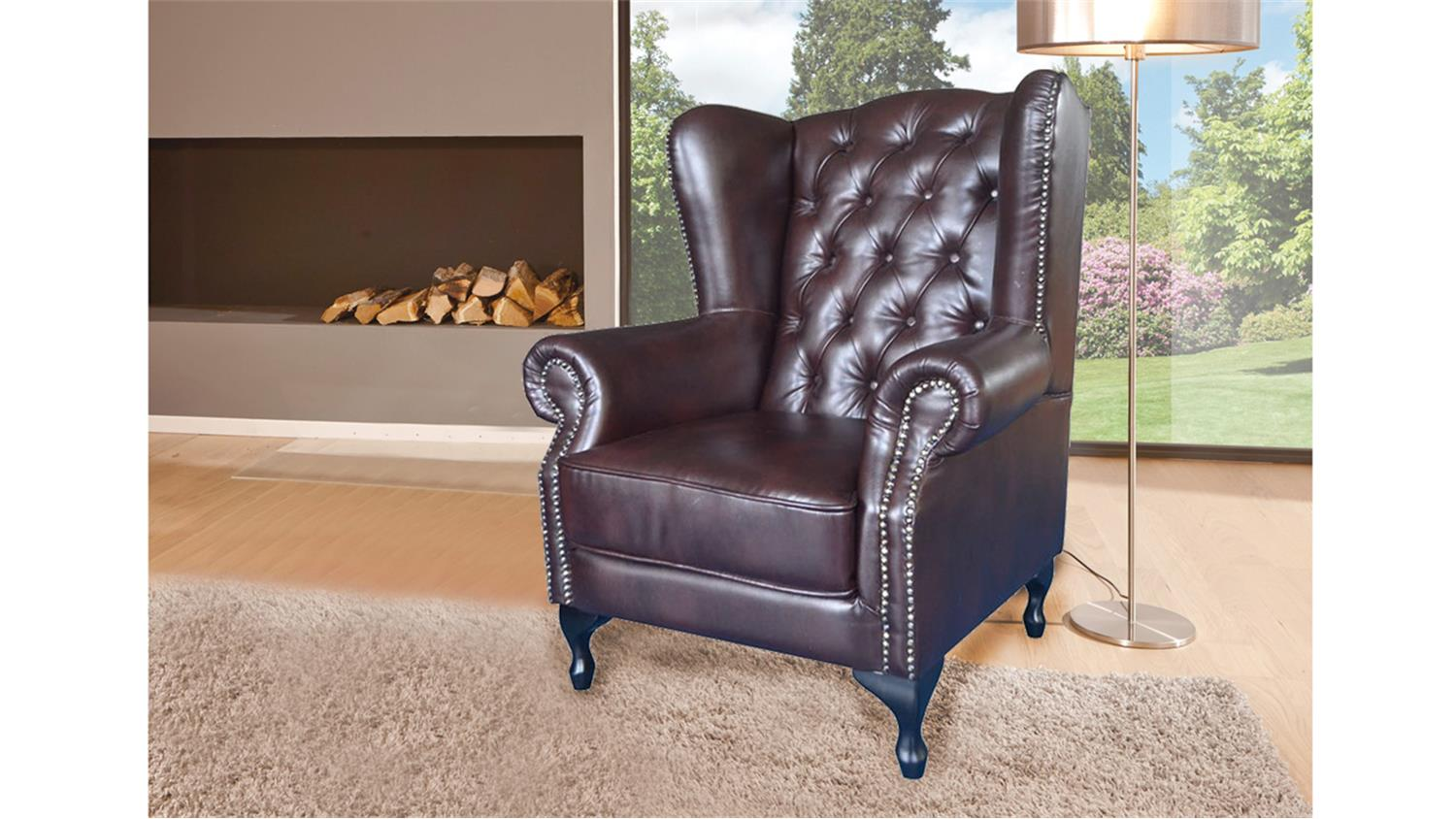 ohrensessel chesterfield dunkelbraun gl nzend. Black Bedroom Furniture Sets. Home Design Ideas