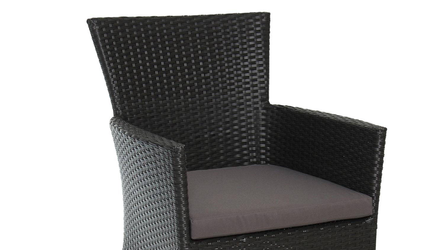 gartenstuhl 2er set polyrattan mit kissen in schwarz. Black Bedroom Furniture Sets. Home Design Ideas