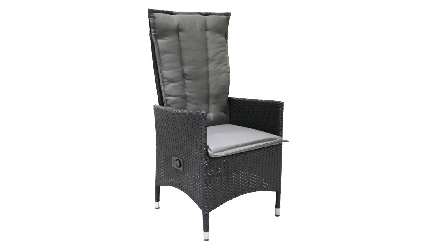 relaxliege polyrattan gartenstuhl schwarz anthrazit verstellbar. Black Bedroom Furniture Sets. Home Design Ideas