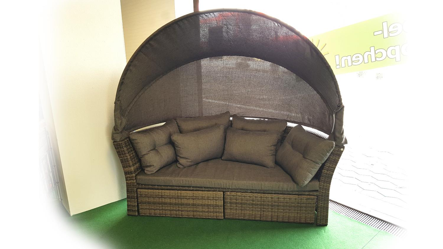 garteninsel doppelsofa sonneninsel mit dach polyrattan braun. Black Bedroom Furniture Sets. Home Design Ideas