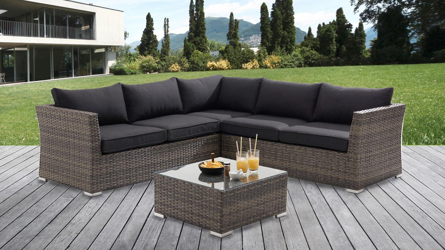 garten lounge ecksofa gartenm bel set polyrattan. Black Bedroom Furniture Sets. Home Design Ideas