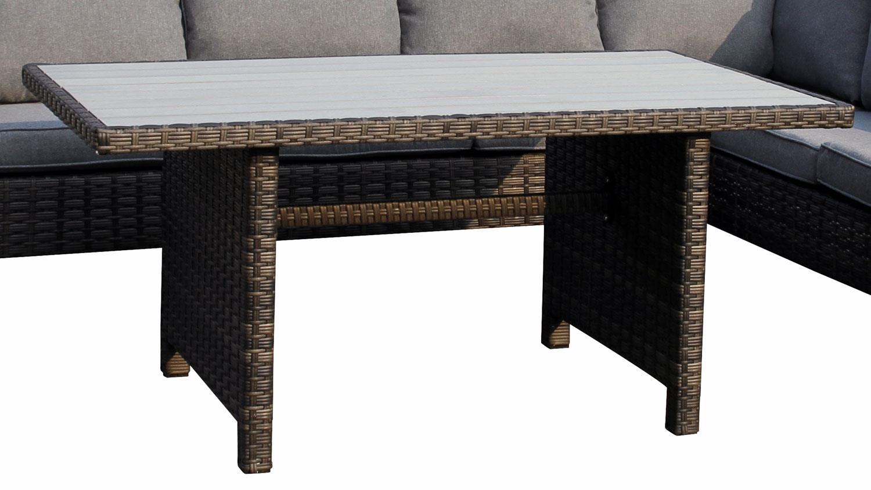 Sitzecke madison eckbank mit tisch in polyrattan grau braun for Polyrattan eckbank
