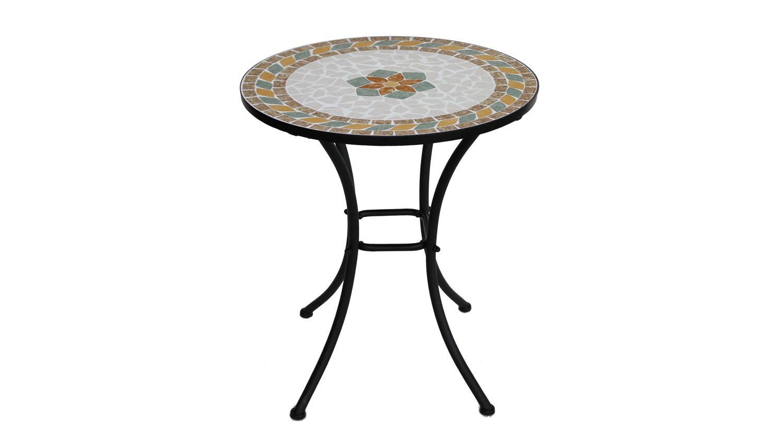 Mosaiktisch Mit Blumen Mosaik Und Schwarzem Gestell 60 Cm