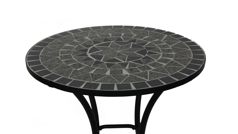 Mosaiktisch metalltisch rund mit keramik mosaik schwarz grau for Metalltisch rund